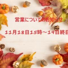 11月18日15時~19日(終日)の休診日について